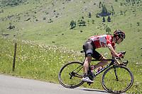 solo race leader Tony Gallopin (FRA/Lotto-Soudal) descending the Colombière<br /> <br /> 69th Critérium du Dauphiné 2017<br /> Stage 8: Albertville > Plateau de Solaison (115km)
