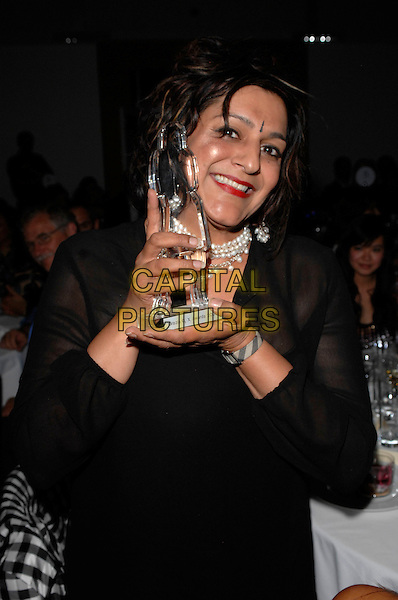 MEERA SYAL - writer and actress.The Grazia O2 Awards, Sunbeam Studio, London, .England, July 19th 2007. .half length winner award trophy bindi.CAP/FIN.©Steve Finn/Capital Pictures.