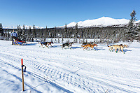 Janelle Trowbridge and team run down the trail on the Denali Highway with the Alaska Range in the background during the start day of the 2015 Junior Iditarod on Sunday March 1, 2015<br /> <br /> <br /> <br /> (C) Jeff Schultz/SchultzPhoto.com - ALL RIGHTS RESERVED<br />  DUPLICATION  PROHIBITED  WITHOUT  PERMISSION