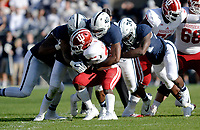 STATE COLLEGE, PA - SEPTEMBER 30:  Penn State S Marcus Allen (2), LB Jason Cabinda (40), and DE Shane Simmons (34) smother and tackle Indiana RB Morgan Ellison (27). The Penn State Nittany Lions defeated the Indiana Hoosiers 45-14 on September 2, 2017 at Beaver Stadium in State College, PA. (Photo by Randy Litzinger/Icon Sportswire)