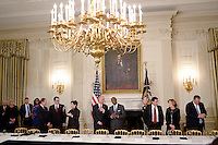 Manufacturing CEOs, including in the middle Juan Luciano (L) Chairman/President/CEO at Archer-Daniels-Midland Co, and Kenneth Frazier Chairman and CEO of  Merck attend a  listening session with President Trump in the State Dining Room  of the White House on February 23, 2017 in Washington, DC. Photo Credit: Olivier Douliery/CNP/AdMedia