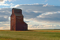 A grain elevatar stands sentinel on the plains of Saskatchewan. Long a symbol of the Canadian Prairies the wooden grain elevator is fast dwindling in numbers. ..Since the first appearance of the grain elevator in the 1870's nearly 6,000 were built. Many of the grain elevators have been replaced by larger concrete grain holding towers with about a thousand wood elevators remaining on the Canadian prairie.
