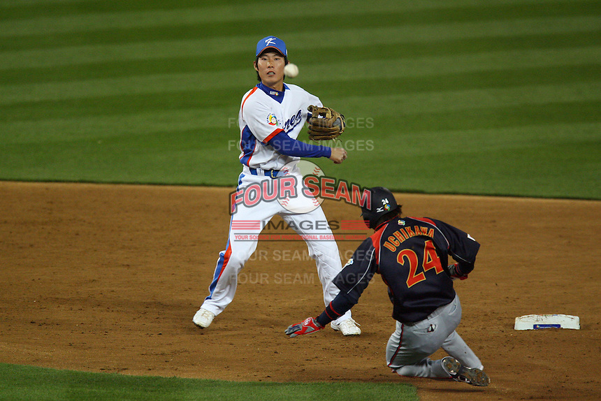Young Min Ko of Korea during a game against Japan at the World Baseball Classic at Dodger Stadium on March 23, 2009 in Los Angeles, California. (Larry Goren/Four Seam Images)