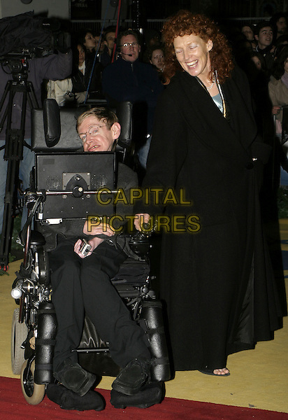 "STEPHEN HAWKING & ELAINE MASON.Lemony Snicket's ""A Series of Unfortunate Events"" film premiere, Empire cinema, Leicester Square,.London, 16th December 2004..full length steven wheelchair.Ref: AH.www.capitalpictures.com.sales@capitalpictures.com.©Capital Pictures..."