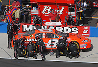 Apr 28, 2007; Talladega, AL, USA; Nascar Busch Series driver Dale Earnhardt Jr (8) pits during the Aarons 312 at Talladega Superspeedway. Mandatory Credit: Mark J. Rebilas