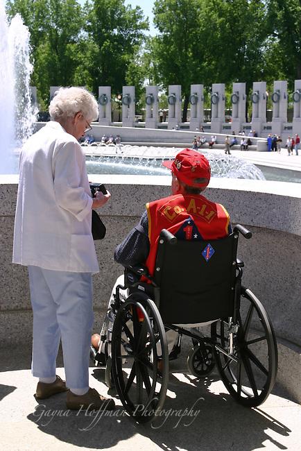 Veteran visiting World War II Memorial, Washington, DC