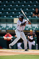 Jupiter Hammerheads designated hitter Anfernee Seymour (26) at bat during the first game of a doubleheader against the Bradenton Marauders on May 27, 2018 at LECOM Park in Bradenton, Florida.  Bradenton defeated Jupiter 13-5.  (Mike Janes/Four Seam Images)