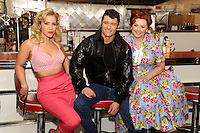 "Heidi Range, Ben Freeman and Cheryl Baker at the photocall for ""Happy Days The Musical"" at Ed's Easy Diner, Trocadero, London. 08/01/2014 Picture by: Steve Vas / Featureflash"