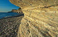 Limestone cliffs of Cap-Bon-Ami along the Gulf of St. Lawrence at sunrise. Appalachians&rsquo; northeasternmost tip in North America. <br />
