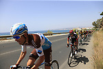 The peloton including Fabio Aru (ITA) UAE Team Emirates in full flight after the start of Stage 4 of the La Vuelta 2018, running 162km from Velez-Malaga to Alfacar, Sierra de la Alfaguara, Andalucia, Spain. 28th August 2018.<br /> Picture: Eoin Clarke   Cyclefile<br /> <br /> <br /> All photos usage must carry mandatory copyright credit (&copy; Cyclefile   Eoin Clarke)