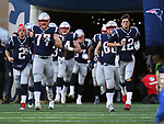 (Foxboro, MA, 01/21/18) Members of the New England Patriots including Brian Hoyer, left, Nate Solder, David Andrews and starting quarterback Tom Brady, right, take the field prior to the start of the AFC championship NFL football game against the Jacksonville Jaguars at Gillette Stadium on Sunday, January 21, 2018. Photo by Christopher Evans