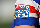 3rd February 2019, Trailfinders Sports Ground, London, England; Betfred Super League rugby, London Broncos versus Wakefield Trinity; Betfred Super League crest on the side of Tom Johnstone of Wakefield Trinity shirt