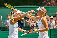 London, England, 7 th. July, 2018, Tennis,  Wimbledon, Womans doubles: Kiki Bertens (NED) and Johanna Larsson (SWE) (L) celebrate their win<br /> Photo: Henk Koster/tennisimages.com