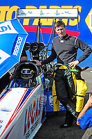 Jan 24, 2009; Chandler, AZ, USA; NHRA top fuel driver Morgan Lucas (right) stands alongside teammate Shawn Langdon during testing at the National Time Trials at Firebird International Raceway. Mandatory Credit: Mark J. Rebilas-