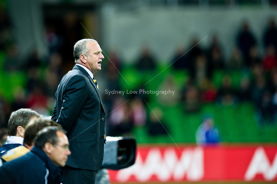 MELBOURNE, AUSTRALIA - AUGUST 5, 2010: Graham Arnold from the Mariners instructs his players in Round 1 of the 2010 A-League between the Melbourne Heart and Central Coast Mariners at AAMI Park on August 5, 2010 in Melbourne, Australia. (Photo by Sydney Low / www.syd-low.com)