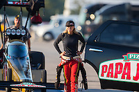 Sep 24, 2016; Madison, IL, USA; NHRA top fuel driver Leah Pritchett during qualifying for the Midwest Nationals at Gateway Motorsports Park. Mandatory Credit: Mark J. Rebilas-USA TODAY Sports