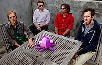 Los Angeles, Calif., April 26, 2009 - From left, Matt Popieluch, Lewis Nicolas Pesacov,  Garrett Ray and Ariel Rechtshaid of the band Foreign Born in Rechtshaid's backyard in the Echo Park section of Los Angeles.