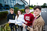 Richard Flaherty (Lerrig, Ardfert), Atlanta Kennedy (Tralee), Dean Meehan (Kilmoyley) and Ben Kavanagh (Derrymore, Tralee), students from Mercy Mounthawk Secondary School, Tralee, who received their Leaving Certificate results on Wednesday morning last.
