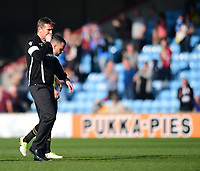 Bolton Wanderers manager Phil Parkinson and Bolton Wanderers' Jay Spearing at the final whistle<br /> <br /> Photographer Chris Vaughan/CameraSport<br /> <br /> The EFL Sky Bet League One - Scunthorpe United v Bolton Wanderers - Saturday 8th April 2017 - Glanford Park - Scunthorpe<br /> <br /> World Copyright &copy; 2017 CameraSport. All rights reserved. 43 Linden Ave. Countesthorpe. Leicester. England. LE8 5PG - Tel: +44 (0) 116 277 4147 - admin@camerasport.com - www.camerasport.com