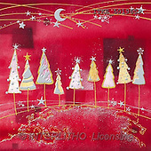 Isabella, CHRISTMAS SYMBOLS, corporate, paintings, white trees, red fond(ITKE501965,#XX#) Symbole, Weihnachten, Geschäft, símbolos, Navidad, corporativos, illustrations, pinturas