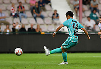KORTRIJK , BELGIUM - AUGUST 03 : Ryota Morioka of Charleroi pictured  scoring the 0-1 for Charleroi from the penalty spot during the Jupiler Pro League match day 2 between Kv Kortrijk and Sporting Charleroi on August 03 , 2019 in Kortrijk , Belgium . ( Photo by David Catry / Isosport )