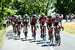 The peloton in action during Stage 14 of the 104th edition of the Tour de France 2017, running 181.5km from Blagnac to Rodez, France. 15th July 2017.<br /> Picture: ASO/Alex Broadway | Cyclefile<br /> <br /> <br /> All photos usage must carry mandatory copyright credit (&copy; Cyclefile | ASO/Alex Broadway)