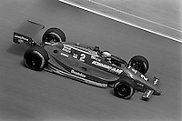 INDIANAPOLIS, IN - MAY 31: Mario Andretti drives the Newman Haas Racing Lola T86/00 HU11/Cosworth during practice for the Indianapolis 500 USAC Indy Car race at the Indianapolis Motor Speedway in Indianapolis, Indiana, on May 31, 1986.