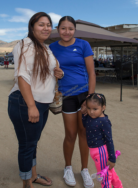 Mona Sanchez, Maria Ramirez and 3-year old Taylena George at the Numaga Indian Days Pow Wow in Hungry Valley on Saturday, Sept. 3, 2016.