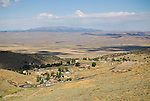 Austin town site in Pony Canyon of the Toyabe Range overlooking the Reese River Valley; Shoshone Mts. on the horizon.