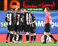 4th February 2020; Kassam Stadium, Oxford, Oxfordshire, England; English FA Cup Football; Oxford United versus Newcastle United;  Sean Longstaff of Newcastle celebrates with his team after scoring in 16th minute 0-1