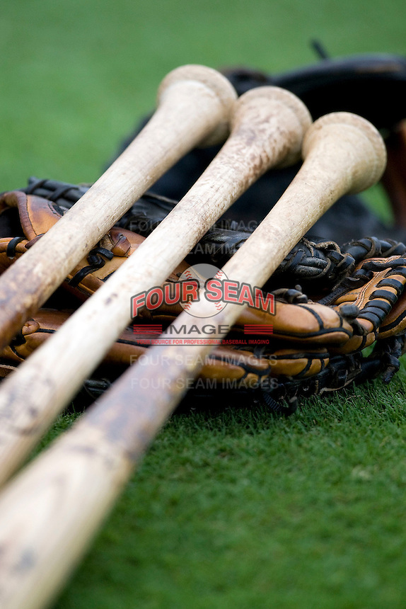 Baseball bats. Image taken at the Dell Diamond on July 10, 2011in Round Rock, Texas. (Andrew Woolley / Four Seam Images)