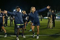 Cary, North Carolina  - Wednesday May 24, 2017: Taylor Smith and Jaelene Hinkle try to distract a teammate on camera after a regular season National Women's Soccer League (NWSL) match between the North Carolina Courage and the Sky Blue FC at Sahlen's Stadium at WakeMed Soccer Park. The Courage won the game 2-0.