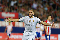 Real Madrid´s French forward Karim Benzema celebrating after scoring