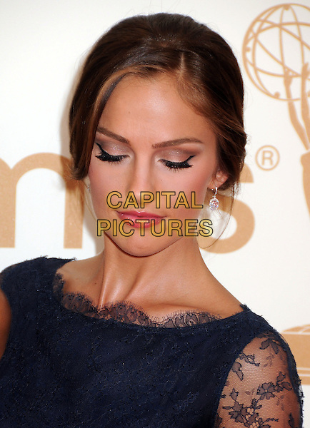 Minka Kelly.63rd Primetime Emmy Awards held at Nokia Theatre L.A. Live. Los Angeles, California, USA. .18th September 2011.emmys headshot portrait blue lace looking down eyes closed make-up beauty eyeliner eyeshadow.CAP/ADM/BP.©Byron Purvis/AdMedia/Capital Pictures.