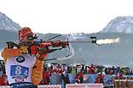 15/12/2019, Hochfilzen, Austria. Biathlon World Cup IBU 2019 Hochfilzen.<br /> Men 4 X 7.5 km Relay race,  Benedikt Doll (GER)