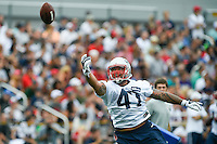 July 24, 2014 - Foxborough, Massachusetts, U.S.- New England Patriots tight end Michael Hoomanawanui (47) has the ball sail by too high to catch during the New England Patriots training camp held at Gillette Stadium in Foxborough Massachusetts. Eric Canha/CSM