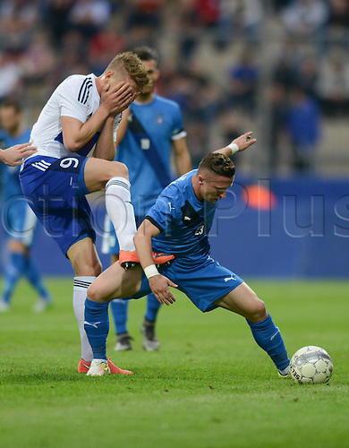 03.06.2016. Volksbank-Stadion, Frankfurt, Germany. International football friendly, Kosovo versus Faroe Islands.  Gilli Rolantbson (Far) is closed down by Bernard Berisha (Kosovo)