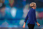 Massachusetts Democratic Senate candidate Elizabeth Warren walks off stage after speaking at the Democratic National Convention on Wednesday, September 5, 2012 in Charlotte, NC.