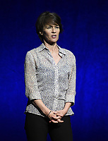LAS VEGAS, NV - APRIL 23: President of Sony Pictures Animation Kristine Belson onstage at the Sony Pictures Entertainment presentation at CinemaCon 2018 at The Colosseum at Caesars Palace on April 23, 2018 in Las Vegas, Nevada. (Photo by Frank Micelotta/PictureGroup)