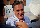 "Republican presidential candidate Mitt Romney greets supporters in Troy, Ohio. The rally is part of the Romney campaign's   ""Every Town Counts"" bus tour."