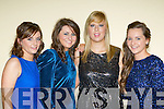 Edel O'Carroll, Meaghan Kiely, Kerrie Beckett and Karena O'Leary on the ball at  the Dr Croke's GAA club social in the INEC Killarney on Friday night..