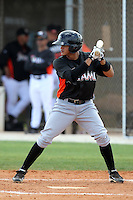 Miami Marlins infielder Yeison Hernandez #91 during an extended Spring Training game against the New York Mets at the Roger Deam Complex on May 1, 2012 in Jupiter, Florida.  (Mike Janes/Four Seam Images)