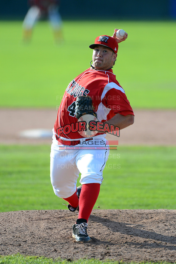 Batavia Muckdogs pitcher Colby Suggs #41 during a game against the State College Spikes on June 29, 2013 at Dwyer Stadium in Batavia, New York.  Batavia defeated State College 3-1.  (Mike Janes/Four Seam Images)