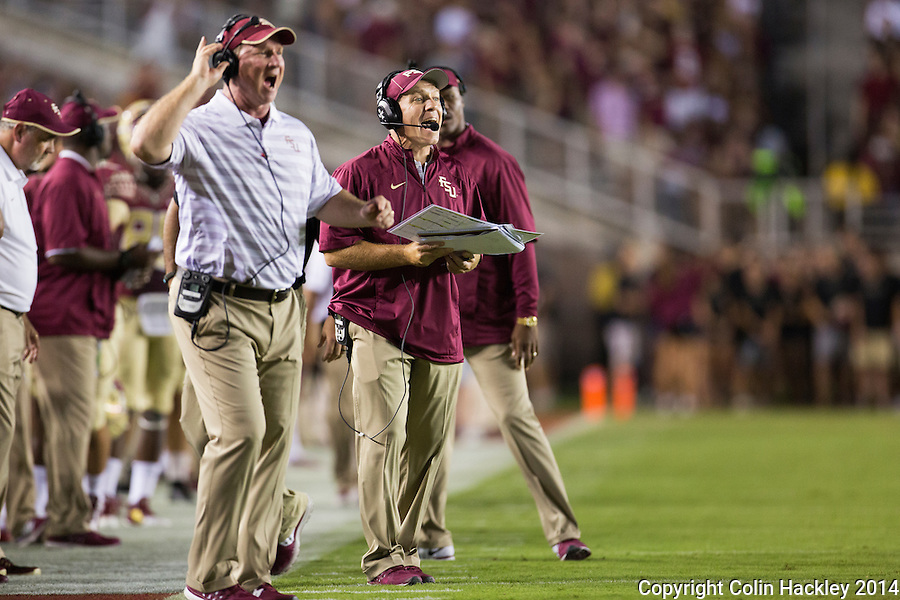 TALLAHASSEE, FL 9/6/14-FSU-CITADEL-Florida State's Quarterbacks Coach Randy Sanders, left, and Head Coach Jimbo Fisher react   during first half action against the Citadel Sept. 6, 2014 at Doak Campbell Stadium in Tallahassee. <br /> <br /> COLIN HACKLEY PHOTO