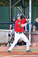 Elizabethton Twins first baseman J.J. Robinson (35) awaits a pitch during a game against the Pulaski Yankees at Joe O'Brien Field on June 27, 2016 in Elizabethton, Tennessee. The Yankees defeated the Twins 6-4. (Tony Farlow/Four Seam Images)