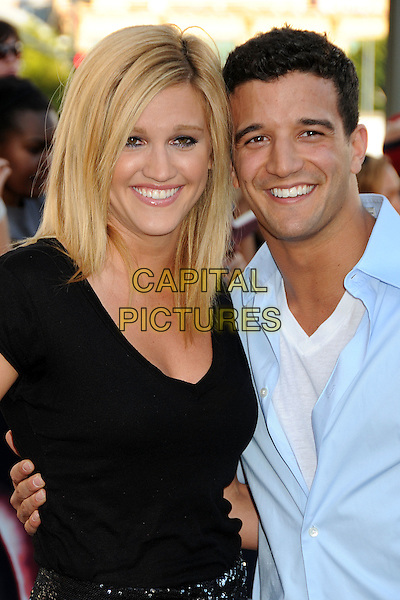 "ASHLEY ROBERTS & MARK BALLAS .""The Twilight Saga: Eclipse"" Los Angeles Premiere at the 2010 Los Angeles Film Festival held at Nokia Theatre LA Live, Los Angeles, California, USA, 24th June 2010..half smiling length black t-shirt  blue shirt .CAP/ADM/BP.©Byron Purvis/AdMedia/Capital Pictures."