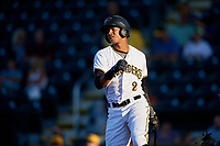 Bradenton Marauders second baseman Alfredo Reyes (2) follows through on a swing during a game against the Tampa Tarpons on April 25, 2018 at LECOM Park in Bradenton, Florida.  Tampa defeated Bradenton 7-3.  (Mike Janes/Four Seam Images)