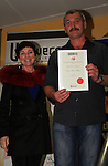 Jasper Maden-Mayers receiving his certificate as runner up in adult poetry..Picture: Shane Maguire / www.newsfile.ie.