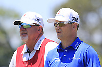 Zach Johnson (USA) and caddy Damon on the 8th tee during Saturday's Round 3 of the 118th U.S. Open Championship 2018, held at Shinnecock Hills Club, Southampton, New Jersey, USA. 16th June 2018.<br /> Picture: Eoin Clarke | Golffile<br /> <br /> <br /> All photos usage must carry mandatory copyright credit (&copy; Golffile | Eoin Clarke)