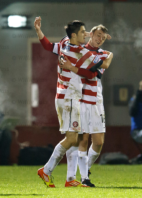 Greig Spence (R) celebrates his goal for Hamilton with team-mate Stephen Hendrie
